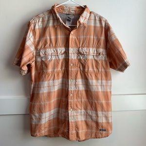 North Face Orange Plaid Vapor Wick Button Up Shirt